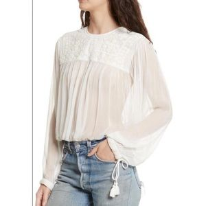 NWT Free People sheer embroidered peasant top